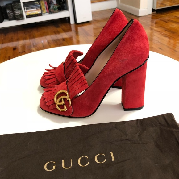 d5e1696d0 Gucci Shoes | Hold Red Suede Marmont Heeled Loafers | Poshmark